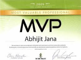 My Codeproject Mvp Certificate Abhijits Blog