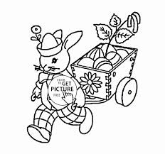 Easter Bunny With Easter Eggs Coloring Page For Kids Coloring Pages