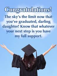 Congratulations For Graduation The Skys The Limit Happy Graduation Card For Daughter