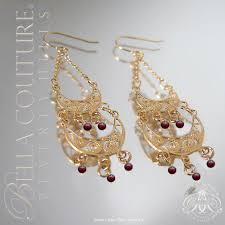 new 500 victorian antique garnet 14k gold chandelier drop dangle vtg earrings