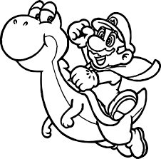 Super Mario Yoshi Fly Coloring Page In Kart Free Online Printable