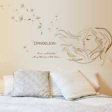 50 70cm pvc dandelion girl flower wall stickers for women rooms