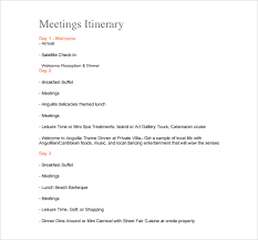 Wedding Agenda Template Sample Meeting Itinerary Template