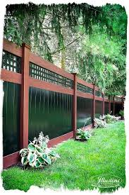 Awesome Backyard Fence Idea! Two color PVC vinyl #IllusionsFence with mix  'n'