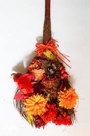Rustic Fall Cinnamon Broom Wreath Thrift Store Upcycle