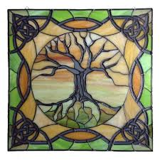 tree of life stained glass panel with ornamentation by smash finished custom project