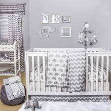 grey elephant and chevron zig zag geometric jungle safari 4 piece baby crib bedding set by the peanut shell com