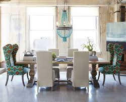 Natural Dining Table & Upholstered Dining Chairs eclectic-dining-room