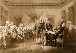 the signing of the declaration of independence painting by john turnbull engraving by asher b durand 1823