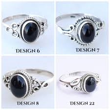 Silver Stone Ring Designs Black Onyx Ring Sterling Silver Stone Gemstone Ring For Gift Girl Women All Size 4 5 6 7 8 9 10 11 12