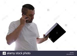 Use Tablet As Phone Man Talking On The Cell Phone And Use Tablet On White