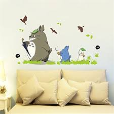jiquan my neighbor totoro wall decals stickers removable waterproof diy wall art mural stickers for on kitchen wall art stickers amazon with amazon jiquan my neighbor totoro wall decals stickers