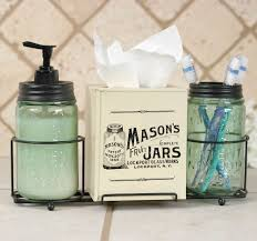 Mason Jar Bathroom Accessories American Flag Mason Jar Bathroom Set Jute Burlap
