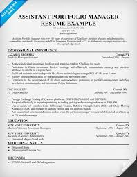 Assistant Portfolio Manager Resume Sample Resume Samples Across