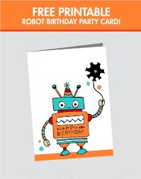 free printable photo birthday cards free printable robot birthday card spaceships and laser beams