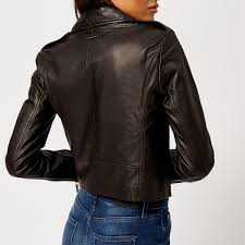 armani exchange women s nappa leather jacket black image 2