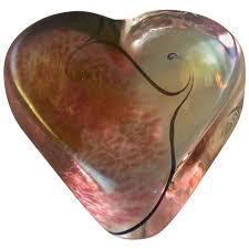 vintage robert held art glass heart paperweight rose sold ruby lane