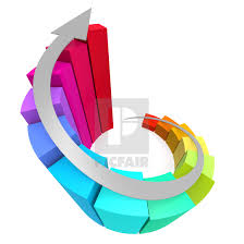 Colorful Winding Bar Chart With Arrow License Download Or