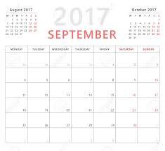 Calendar Planner 2017 September Week Starts Monday Vector Design