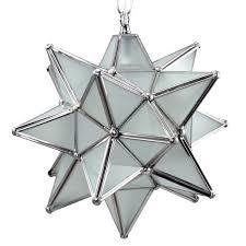 moravian star pendant light frosted glass silver frame 12