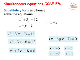 38 simultaneous equations gcse fm substitute y for x and hence solve the equations