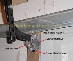 garage door opener bracket incorrect installation
