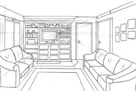 Living Room Perspective Drawing One Point Perspective Living Room Drawing  Two Point Perspective Interior Drawing Tutorial