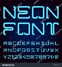 Types Of Light Blue Neon Blue Light Alphabet Vector Font Stock Vector Royalty