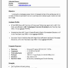 Mba Resume Format For Freshers In Finance Inspirational 50
