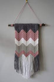 Then, wrap the new thread around the hook (pic.3), and pull it through the loops (pic.4). Tales From A Happy House A Crocheted Zigzag Wall Hanging Crochet Wall Art Crochet Wall Hangings Crochet Decoration