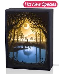 Mood Lighting Living Room Papercut Light Boxes 3d Shadow Box Led Light Night Lamp