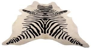 cowhide rug stencilled zebra black white by design by free to worldwide