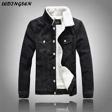 ledingsen warm fleece black denim jacket 2018 winter mens jean jacket coat men trendy outwear male cowboy clothes homme 5xl jackets leather denim fur jacket