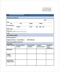 Employment Job Application Form Sample Generic Application Forms For Employment 9 Free Documents