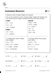 Customary Units Of Length Weight And Capacity Reteaching