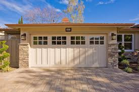 traditional carriage house garage door on ranch home craftsman garage