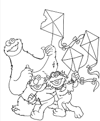 Small Picture Cookie Monster and friends flying kites Kite Coloring Pages