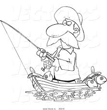 Small Picture Vector of a Cartoon Fisherman Standing in His Boat Outlined