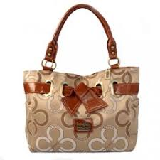 Coach Bowknot In Monogram Medium Khaki Totes EJL