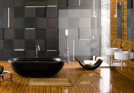 Polished Wood Flooring For Large Bathroom Decorating Idea With ...