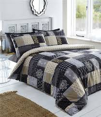 single duvet set black gold grey quilt cover bed set patchwork pattern bedding