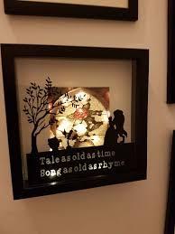 hand made beauty and the beast light up shadow box frame tale