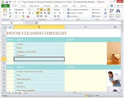 Cleaning Chart Checklist Free House Cleaning Checklist Template For Excel