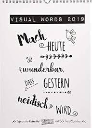 Visual Words 2018 Typo Art Wochenkalender Jede Woche Ein Neuer
