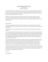 Sample Thank You Letter After Interview Executive Cover Letter