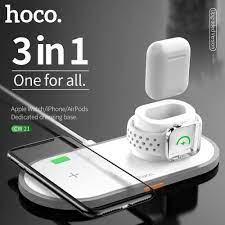 HOCO 3 Trong 1 Sạc Không Dây Qi Miếng Lót Cho iPhone 11 Pro X XS