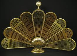 Vtg Antique Brass Shell Art Deco Folding Peacock Fan Style ...