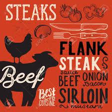 Steak Menu Design Steak Menu Poster For Restaurant And Cafe Design Template With