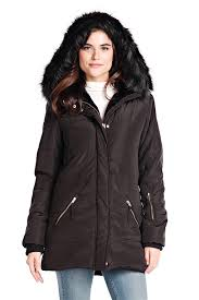 black hooded faux fur lined puffer coat 1