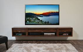 Long Wood Wall Mounted Media Shelf And Drawers, Trendy Wall Mounted Media  Shelf Designs Photo